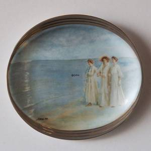 P.S. Kroyer oval plate, Evening walk on the Beach, Bing & Grondahl | Year 1987 | No. BRADEX14-G65-6-1 | DPH Trading