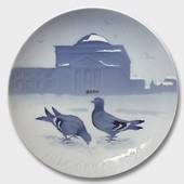 Pigeons in the Castle Court 1921, Bing & Grondahl Christmas plate