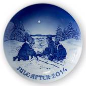 Sledging in the snow 2014, Bing & Grondahl Christmas plate