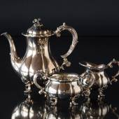 Coffee pot, creamer and sugar bowl in silver plating