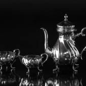 Mocha pot, creamer and sugar bowl in silver plating