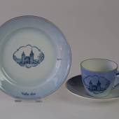 Castle Dinner set Cup and plate with Vallø Castle