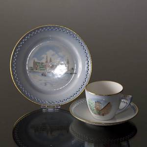 Denmark Dinner set Cup (Round Tower) and Plate (Kronborg), Bing & Grondahl | No. DG1836-11 | DPH Trading