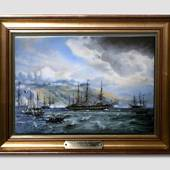 """The Frigate Jutland"", porcelain painting, Bing & Grondahl"