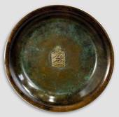 Bronze Plate with The Danish Coat of Arms, Ø 29 cm