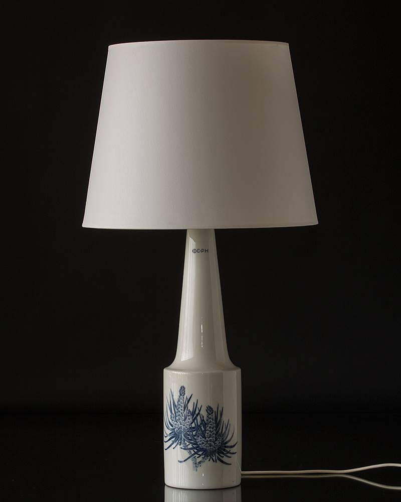 Royal Copenhagen Lamp decorated with blue cone white base