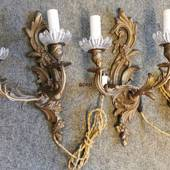 Bronze wall lamps, set of two