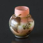 Galle antique vase with flowers, pink with leaves 10 cm