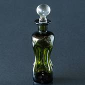 Holmegaard Small Green Glug-bottle with clear top, glass