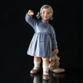 Girl with Teddy Bear waving, Dahl Jensen Figurine