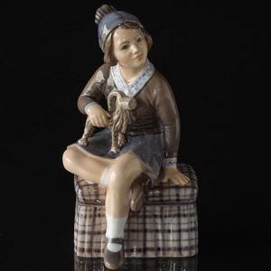 Girl with Christmas Goat Dahl Jensen Figurine