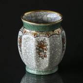 Dahl Jensen Craquele vase with green rim and flowers
