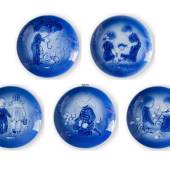 1973-1977 Old Copenhagen Blue Plates 5 pcs, Desiree Mother's Day plates, De...