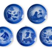 1978-1982 Old Copenhagen Blue Plates 5 pcs, Desiree Mother's Day plates. De...
