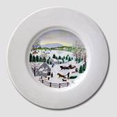 Village Scenery, Winter, plate without hanger
