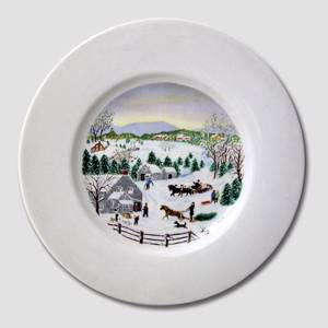 Village Scenery, Winter, plate without hanger | No. DV1573 | Alt. DV.1573 | DPH Trading