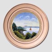 Ceramics plate with sailboat