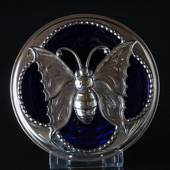 Blue glass bowl with top in silver plate with a butterfyl decoration