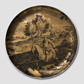 Golden Hunting plate, German. Rider with dog