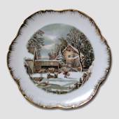 "Plate ""Home of the Farmer"" Winter, Currier & Ives"