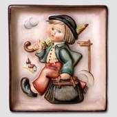 Goebel plate with whimsical boy with umbrella