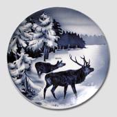 Villeroy & Boch, Plate no. 2554H Winter landscape with red deer