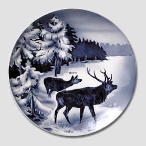 Villeroy & Boch, Plate no. 2554H Winter landscape with red deer | No. DV3001 | DPH Trading