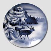 Villeroy & Boch, Plate no. 2554F Winter landscape with red deer