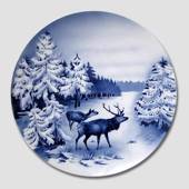 Villeroy & Boch, Plate no. 2564D Winter landscape with red deer