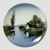 Plate with Landscaping showing the little house by the river