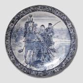Giant plate/dish with Horsecarriage blue on white