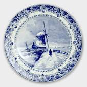 Plate with Landscape with windmill no. 303.28, Delft