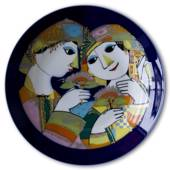 Rosenthal Bjorn Wiinblad plate Studio-linie Couple with flowers