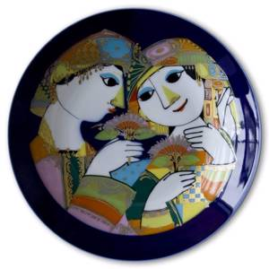 Rosenthal Bjorn Wiinblad plate Studio-linie Couple with flowers | No. DV3105 | DPH Trading