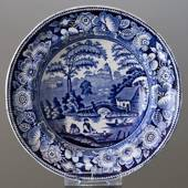 Plate with chinese decoration, blue on white , Wild Rose Decoration