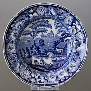 Plate with chinese decoration, blue on white , Wild Rose Decoration | No. DV3110 | DPH Trading