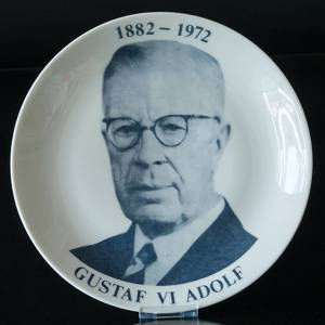 Elgporslin plate with Gustaf VI Adolf 1882-1972