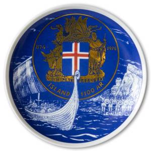 Elgporslin Commemorative Plate Iceland 1100 Years 874-1974 | No. ELG1023 | DPH Trading