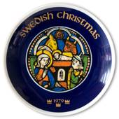 1979 Elgporslin Christmas plate, Swedish Christmas, Stainedglass window