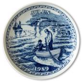 1989 Elgporslin Christmas plate Halland, Varbergs fort and coastal fishers