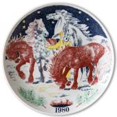 Elg Red Cross Plate with Swedish Folksongs 1980
