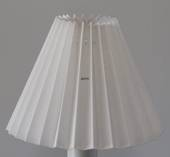 Pleated lamp shade of white flax fabric