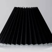 Pleated lamp shade of black chintz fabric, sidelength 27cm
