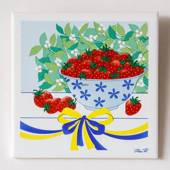"Gustavsberg Tile with strawberry in the series ""Summer in Sweden""  Pia Ronn..."