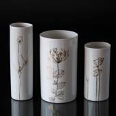 3 vases in porcelain with white/gold dekoration