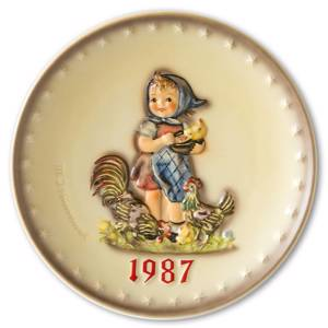 Hummel Annual plate 1987 Girl feeding chickens | Year 1987 | No. HA1987 | DPH Trading