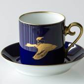 1978 Hackefors Cobalt Blue fairytale cup and saucer, Nils Holgersson