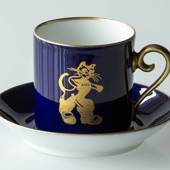 1979 Hackefors Cobalt Blue fairytale cup and saucer, Puss in Boots