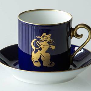 1979 Hackefors Cobalt Blue fairytale cup and saucer, Puss in Boots | Year 1979 | No. HBE1979 | DPH Trading