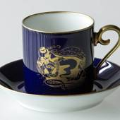 1980 Hackefors Cobalt Blue fairytale cup and saucer, Aladdin and the lamp
